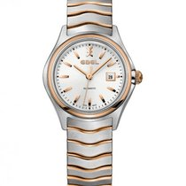 Ebel Wave 1216236 EBEL LADY STEEL ROSE GOLD CASE STRAP SILVER new