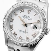 Rolex SS 36mm Datejust White Roman Custom CH Set Diam Bezel 16014
