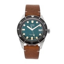 Oris Divers Sixty Five pre-owned 42mm Green Date Leather
