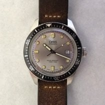Oris Divers Sixty Five pre-owned Silver Date Leather
