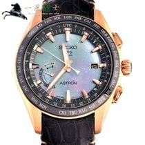 Seiko Astron GPS Solar pre-owned 45mm Black Leather