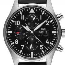 IWC Flieger Chronograph Day-Date Stahl Automatik Armband Leder...