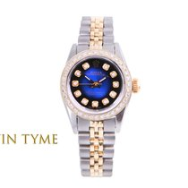 Rolex Oyster Perpetual Ouro/Aço 24mm Azul