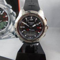 Tissot T-Touch II rabljen 43mm Crn Kronograf Datum, nadnevak Mjesecni pokazivac Godisnji kalendar GMT Tahimetar Kaučuk