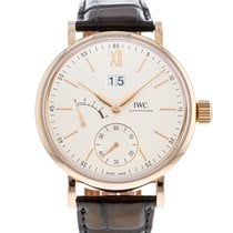 IWC Rose gold Manual winding Silver 45mm pre-owned Portofino Hand-Wound