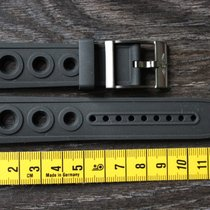 Breitling 22mm black new rubber kautschuk strap and black clasp