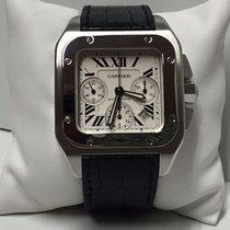 Cartier Santos 100 XL Chrono Stainless Steel Leather Strap
