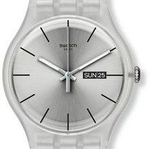 Swatch Originals Resolution Silver Silicone Swiss Quartz Watch...