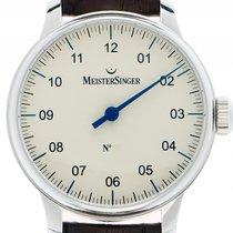 eb928b301bbbf1 Meistersinger No.2 Einzeigeruhr Stahl Handaufzug Armband Leder.