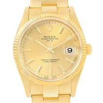 Rolex Date Yellow Gold Oyster Bracelet Mens Watch 15238 Box...