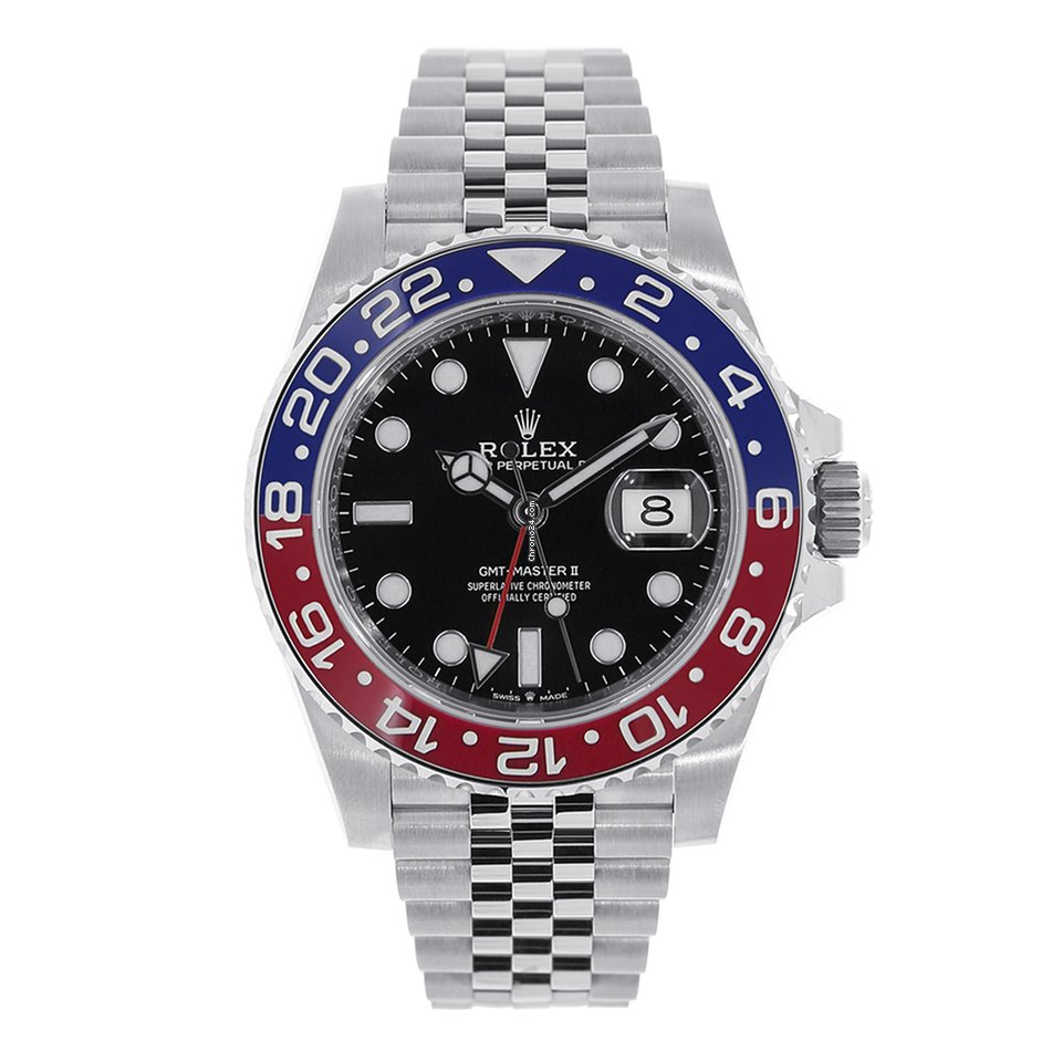 Rolex GMT,MASTER II Stainless Steel Red \u0026 Blue Pepsi 126710BLRO