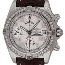 Breitling Chrono Cockpit pre-owned 39mm White Chronograph Date Crocodile skin