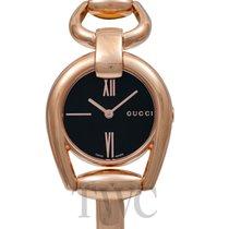 Gucci Pозовое золото Кварцевые Чёрный 28mm новые Horsebit