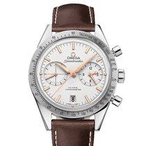 Omega Speedmaster '57 gebraucht 41,5mm Silber Chronograph Datum Leder