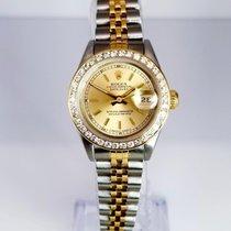 Rolex 69173 ladies  twotone champagne stick diamond bezel