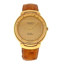 Rolex Men's 18k Solid Gold Rolex Cellini Gold Face Arabic...