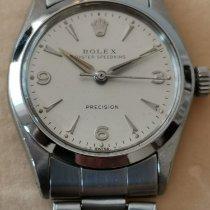 Rolex Oyster Precision Staal 30mm Zilver Geen cijfers