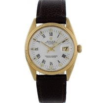 Rolex Yellow gold Automatic White 34mm pre-owned Oyster Perpetual Date
