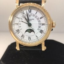 Patek Philippe Perpetual Calendar pre-owned 36mm White Moon phase Date Month Perpetual calendar Leather
