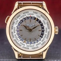 Patek Philippe Rose gold Automatic Grey 38.5mm pre-owned World Time