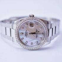 Rolex Date Stainless Steel Watch With Custom Diamonds and...