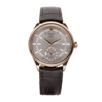 Rolex Cellini Dual Time pre-owned 39mm Silver GMT Leather