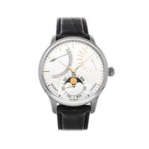 Maurice Lacroix Masterpiece Phases de Lune pre-owned 43mm Silver Moon phase Date Crocodile skin