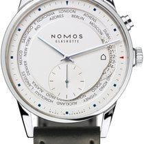NOMOS Zürich Weltzeit Steel 40mm White United States of America, New York, Airmont