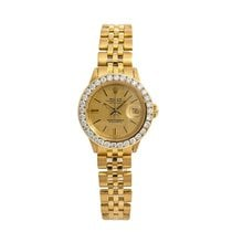 Rolex Yellow gold Automatic Champagne No numerals 26mm pre-owned Oyster Perpetual Lady Date
