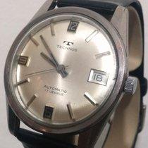 Technos Vintage Automatic Date FNF-905 17J Steel Silver Men's...