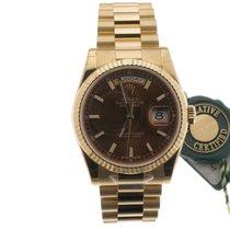 Rolex Day-Date 36 Ouro amarelo 36mm Castanho Sem números