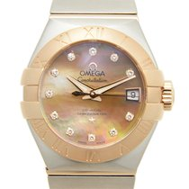 Omega Constellation 18k Rose Gold And Steel Brown Automatic...