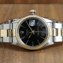 Rolex Oyster Perpetual Date Guld/Stål 34mm Svart Inga siffror
