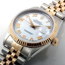 Rolex 36mm 18K/SS Datejust White Roman Dial w Jubilee - Quickset