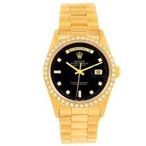Rolex President Day Date Mens 18k Yellow Gold Diamond Watch 18348