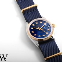 Rolex 18K/SS DATEJUST Custom Blue Diamond Dial - Navy NATO - 36mm