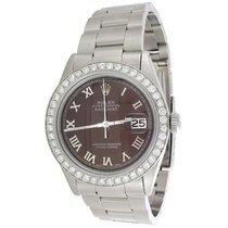 Rolex Mens Rolex DateJust Diamond Watch 36mm Custom Brown...