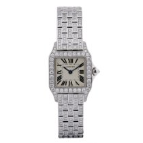 Cartier Santos Demoiselle Small 18KT White Gold Diamond Case...