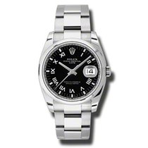 Rolex Oyster Perpetual Date Steel 34mm Black Roman numerals