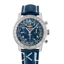 Breitling Navitimer Cosmonaute Blue Steel/Leather 43mm -...