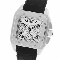 Cartier Santos 100 pre-owned 41.2mm Silver Chronograph Date Leather