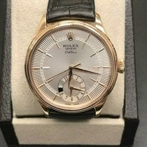Rolex Cellini Dual Time Roségold 39mm Silber