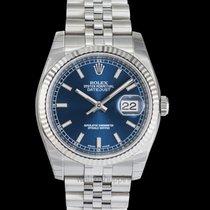 Rolex Datejust Or blanc 36mm Bleu