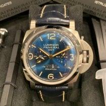 Panerai Tytan Manualny Niebieski Arabskie 47mm używany Luminor 1950 8 Days GMT