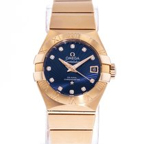 Omega Constellation Ladies pre-owned 27mm Blue Date Rose gold