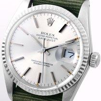 Rolex SS 36mm Datejust Olive NATO 18k White Gold Bezel  -...