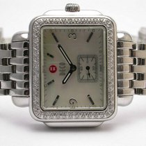 Michele Mw06c01 Deco Mother Of Pearl Dial Pave Diamond Bezel...