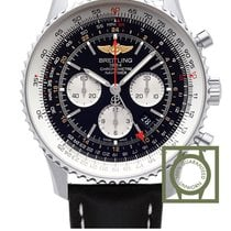 Breitling Navitimer GMT Black Dial Black Leather Strap