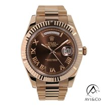 Rolex Day-Date II Oro rosa 41mm Marrone Romano