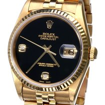 Rolex Oyster Datejust Jubilee Yellow Gold Rare Onix Dial  36 mm